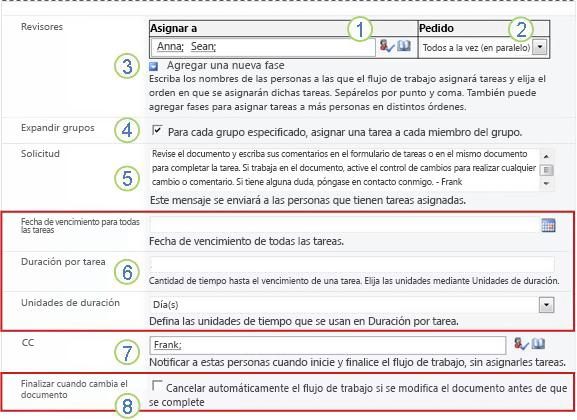 Segunda página del formulario de asociación con secciones resaltadas numeradas