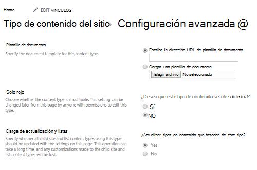 Escriba la dirección URL de la plantilla de documento en el tipo de contenido del sitio: Página de configuración avanzada