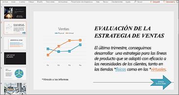 Presentación con una diapositiva donde se muestran un gráfico y texto con dos hipervínculos