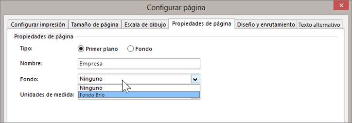 Captura de pantalla de Configurar página > Propiedades de página con el fondo Brío seleccionado en la lista desplegable Fondo