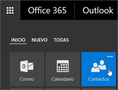 Captura de pantalla del cursor sobre el mosaico Contactos en el iniciador de aplicaciones de Office 365.