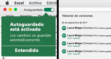 Cinta de Excel con la burbuja de Autoguardado en la parte izquierda y una lista con el historial de versiones en la parte derecha