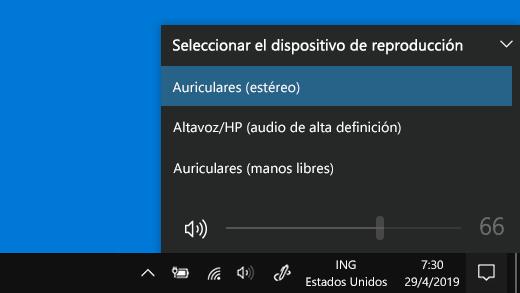 Seleccionar el dispositivo de reproducción Bluetooth