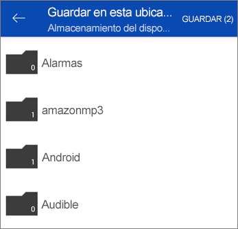 Guardar archivos desde OneDrive