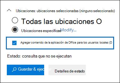 """La casilla de verificación """"Agregar contenido de la aplicación de Office para los usuarios locales"""" se agrega a la interfaz de usuario de búsqueda de contenido"""