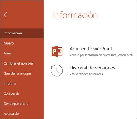 La pestaña información de Office online que muestra el elemento del historial de versiones.