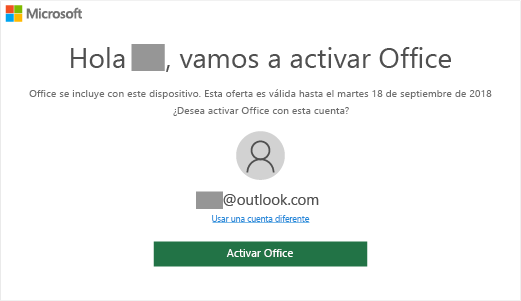 "Muestra la pantalla ""Vamos a activar Office"" que indica que este dispositivo incluye Office"