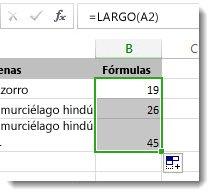 Especificación de varias funciones LARGO en una hoja de cálculo