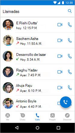 Captura de pantalla de iniciar una llamada desde la pestaña llamadas de Kaizala