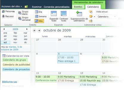 Uso de varios calendarios en SharePoint