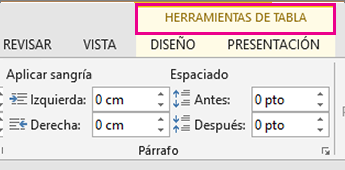 Imagen del comando Herramientas de tabla que aparece en la parte superior de la cinta de opciones al hacer clic en cualquier lugar de una tabla.