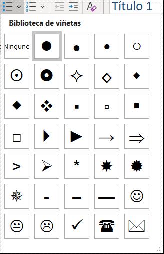 Captura de pantalla de la selección de elemento de lista con viñetas en el menú Inicio.