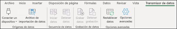 Complemento Transmisor de datos en el menú de la cinta de opciones de Excel