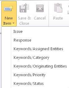 Formularios de palabra clave en el menú desplegable Nuevo formulario
