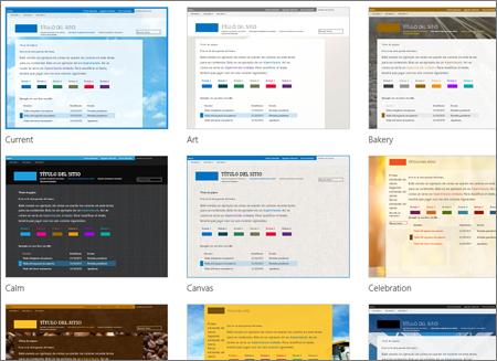 Página de SharePoint Online que muestra imágenes de plantilla de sitio
