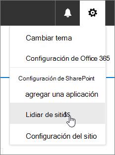 Menú Configuración con contenido del sitio resaltado