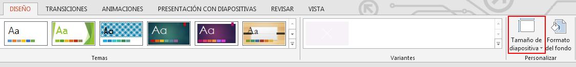 En la pestaña Diseño, del grupo Personalizar, haga clic en Tamaño de la diapositiva.
