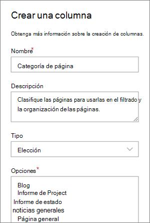 Ejemplo de configuración de una columna opción de categoría para blogs