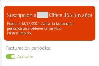 Revise los detalles de su suscripción de Office 365