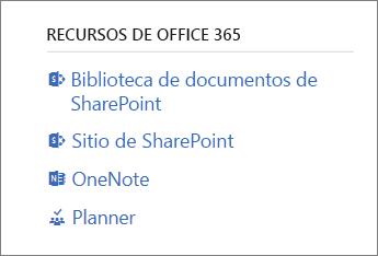 Recursos de Office 365