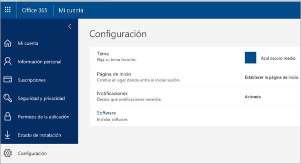 Página de configuración de Office 365