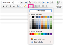 Selector de color de fuente en Outlook para Mac