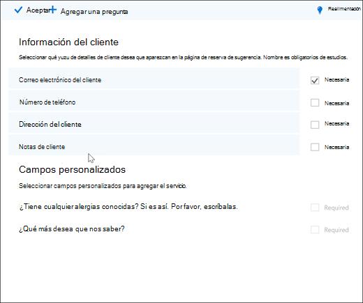 Captura de pantalla: que muestra la lista general de preguntas personalizados.