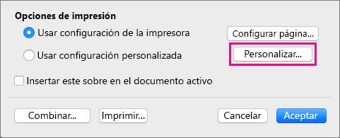 Haga clic en Personalizado para definir tamaños y diseños de sobres distintos de los proporcionados por la impresora.