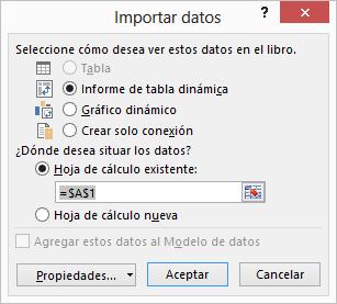 Asistente para la conexión de datos > Importar datos