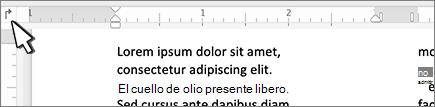 Botón de tabulación izquierda de Mac en la regla