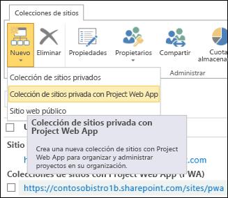 Nuevo > Colección de sitios privados con Project Online