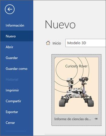Se muestra una plantilla de modelo en 3D en Archivo > Nuevo