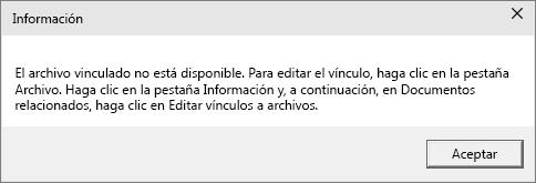 Muestra el error de archivo vinculado en PowerPoint