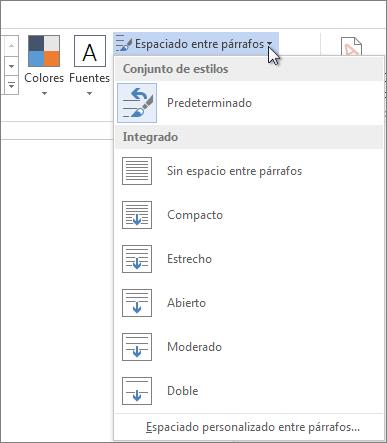 Captura de pantalla de la pestaña Diseño en Word donde se muestra el menú Espacio entre párrafos.