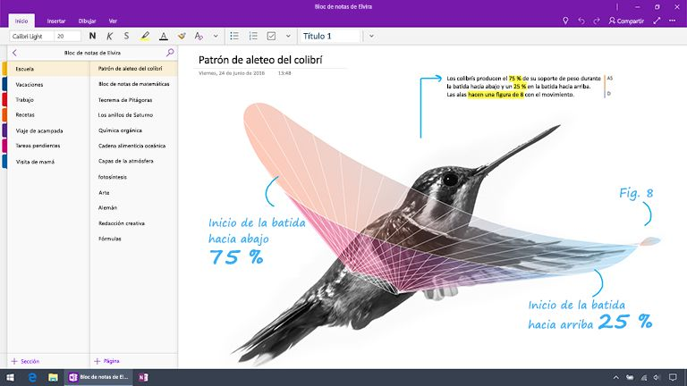 Captura de pantalla de OneNote para Windows 10