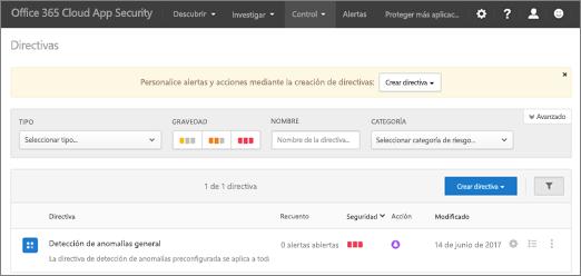 Cuando vaya al portal de seguridad de aplicación de nube de Office 365, se inicia con la página directivas