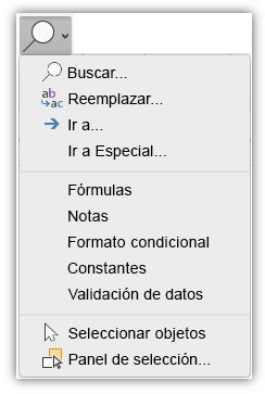 Captura de pantalla que muestra el menú Buscar y seleccionar que se ha agregado a la pestaña Inicio de la cinta de opciones.