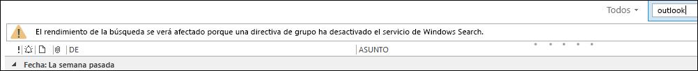 Búsqueda en el escritorio de Windows deshabilitada