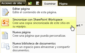 Sincronizar con SharePoint Workspace