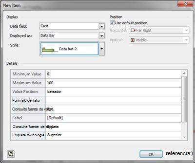 Cuadro de diálogo Nuevo elemento con Barra de datos seleccionado