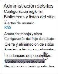 Vínculo de administración de almacén de términos en configuración del sitio