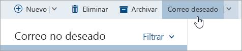 Captura de pantalla del botón No es correo no deseado.