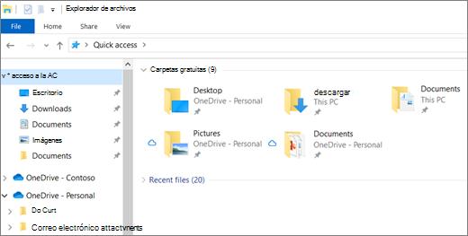 Explorador de archivos de Windows 10 con carpetas de escritorio, documentos e imágenes en OneDrive
