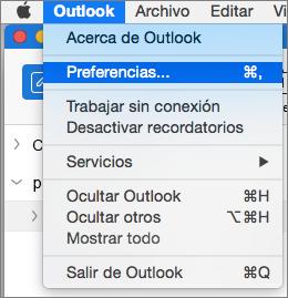 Menú de Outlook con las preferencias resaltadas
