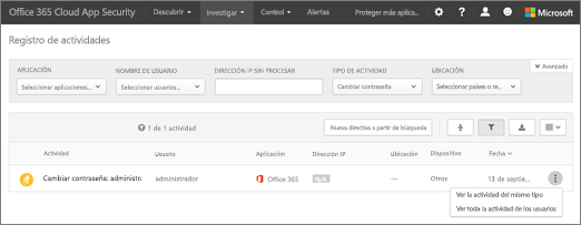 En seguridad de aplicación de nube de Office 365, elija investigar > registro de actividad.