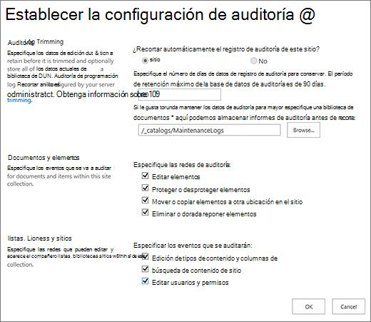 Pantalla Configuración de auditoría de la colección de sitios