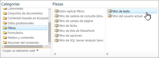 Seleccionar el elemento web de filtro de texto