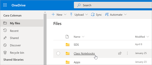 En mis archivos, seleccione blocs de notas de clase.