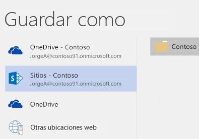 Guardar un documento de OneDrive para la Empresa en una biblioteca de sitio de grupo