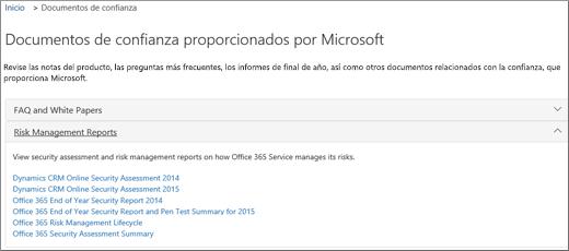 Muestra la página de garantía del servicio: Confiar en documentos proporcionados por Microsoft